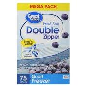 (2 pack) Great Value Double Zipper Freezer Bags, Quart, 75 Count