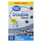 (2 pack) Great Value Double Zipper Freezer Bags, Mega Pack, Quart, 75 Count