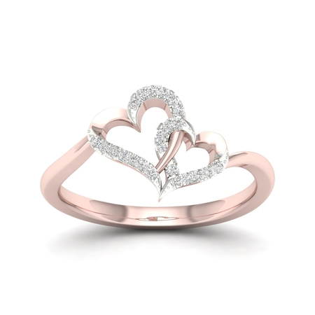 1/20Ct TDW Diamond 10K Rose Gold Double Heart (Double Rose Rings)