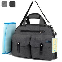 JOIE BEAN Baby Diaper Tote Bag with Changing Mat and Insulated Pockets, Large Capacity Travel Baby Bag with Stroller Straps, Multi-Function Maternity Nappy Bag