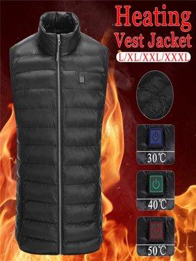 USB Men Electric Heating Vest Jacket Winter Warm Heated Pad Winter Body Warmer-L