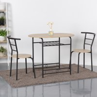Gymax 3 Piece Dining Set Home Kitchen Furniture Table and 2 Chairs Natural