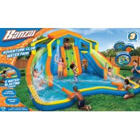 Banzai Adventure Club Water Park (Dual Inflatable Water Slides, Cannons, Basketball Hoop and Overhead Sprinkler)