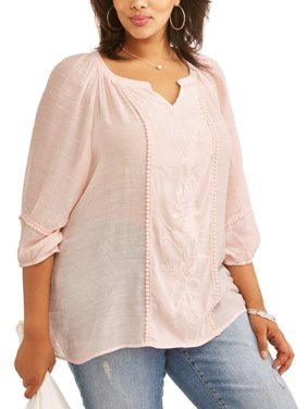 Women's Plus Peasant Embroidered Blouse
