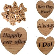 Girl12Queen 50Pcs Wooden Love Heart Letter Slices DIY Craft Wedding Table Scatter Decoration