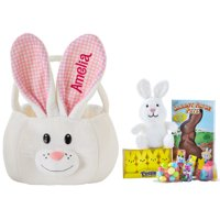 Personalized Large Plush Bunny Easter Basket - With Candy