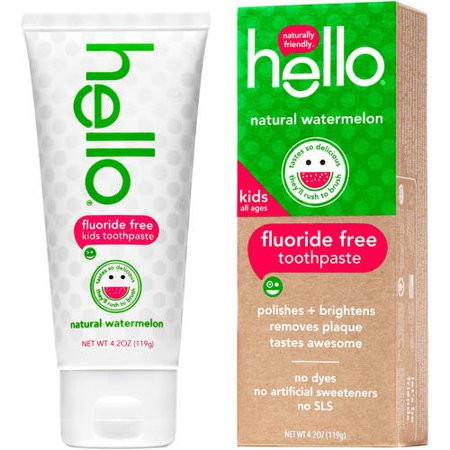 - (2 Pack) Hello Naturally Friendly Natural Watermelon Fluoride Free Kids Toothpaste, 4.2 oz