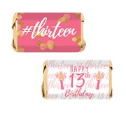 Pink and Gold 13th Birthday Mini Candy Bar Wrapper Stickers, 54 Count
