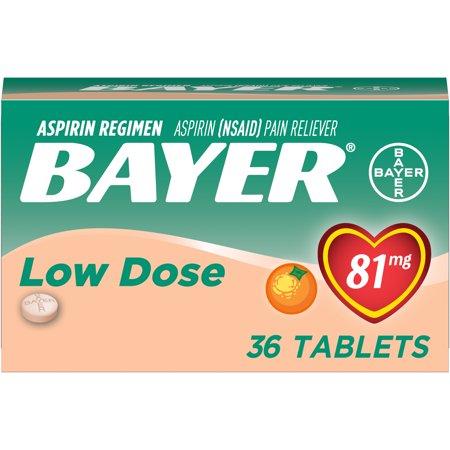 Orange Cream Chewable (Bayer Chewable Aspirin Regimen Low Dose Pain Reliever Tablets, 81mg, Orange, 36 Ct)