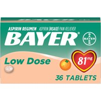 Bayer Chewable Aspirin Regimen Low Dose Pain Reliever Tablets, 81mg, Orange, 36 Ct