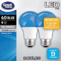 Great Value LED A19 (E26) Light Bulbs, 9W (60W Equivalent), Blue, 2-Pack