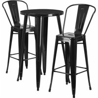 """Flash Furniture 24"""" Round Metal Indoor-Outdoor Bar Table Set with 2 Cafe Barstools, Multiple Colors"""