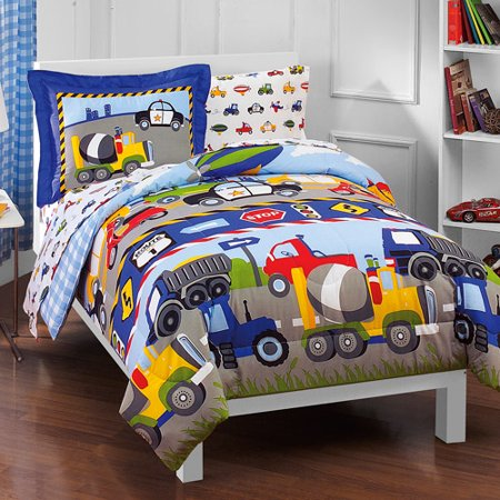 Dream Factory Kids Trucks & Transportation Twin Bed in a Bag Bedding set w/ Reversible Comforter (Boys Toddler Bedding Set Truck)