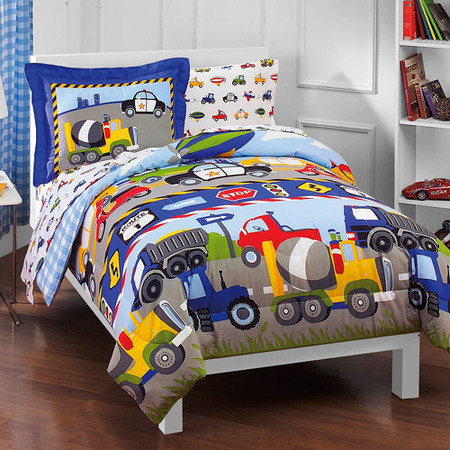 Dream Factory Kids Trucks & Transportation Twin Bed in a Bag Bedding set w/ Reversible Comforter ()