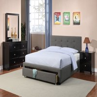 Master Bedroom Furniture 4pc Set Queen Size Bed w Storage Drawer FB Slate Polyfiber Black Dresser Nightstand Mirror Modern Set