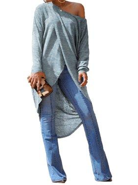 STARVNC Women Long Sleeve Cold Shoulder Overlady Pullover Maxi Shirt