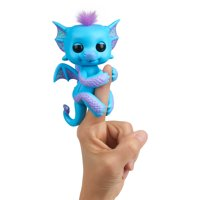 Fingerlings - Glitter Dragon - Tara (Blue with Purple) - Interactive Baby Collectible Pet - By WowWee