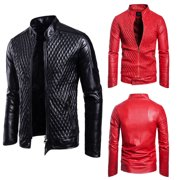 69b7f039e Men's Autumn Leather Jacket Slim Fit Motorcycle Jacket Zipper Casual Coat  NEW