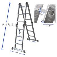 OxGord Heavy Duty Aluminum Folding Scaffold Work Ladder 12.5 ft Multi-Fold Step Light Weight Multi-Purpose extension - 330 LB Capacity