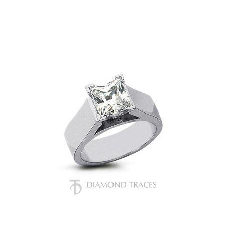0.60ct I-VS2 Ideal Cut Princess AGI Genuine Diamond 950Plat Cathedral Ring 5.5mm