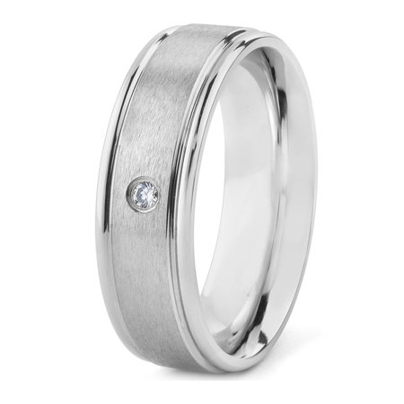 Men's Cubic Zirconia Brushed Stainless Steel Band Ring (7mm) Cubic Zirconia Stainless Steel Ring