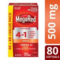 MegaRed Advanced 4 in 1 Omega-3 Fish Oil + Krill Oil Softgels, 500 Mg, 80 Ct