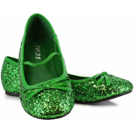 Girl Pairs For Halloween (Green Sparkle Flat Shoes Girls' Child Halloween Costume)