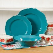 The Pioneer Woman Vintage Ruffle Denim Walmart Exclusive Dinnerware Set, 12 Piece