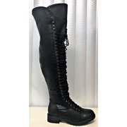 58091412463 Travis-5 Women Over the Knee Combat Military Lace Up Boot Black