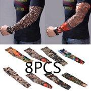 6ae73cfac 8pcs Set Arts Fake Temporary Tattoo Arm Sunscreen Sleeves - Designs Tiger, Crown  Heart,