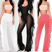 c86795cd8d Plus Size Women Mesh Sheer Bikini Cover Up Long Pant Trousers Beach Swimwear