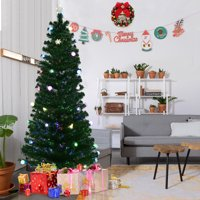 Gymax Pre-Lit 7.5' Fiber Optic Multicolor LED Lights Artificial Christmas Tree Metal Stand