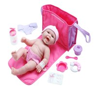 """JC Toys 13"""" All-Vinyl La Newborn Realistic Baby Doll, Diaper Changing Bag Gift Set - Perfect for Children 2+"""