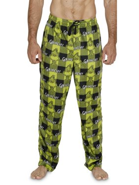 Dr. Seuss The Grinch Mens Green Plaid Microfleece Sleep Pants Pajama Bottoms, Green Plaid, Size: Medium