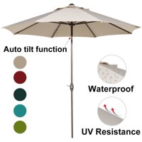 Abba Patio 9-Ft Aluminum Patio Umbrella with Auto Tilt and Crank, 8 Ribs, Beige