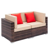 Deals on Ktaxon 2pcs Outdoor Patio Sofa Furniture Couch Arm Single Sofa