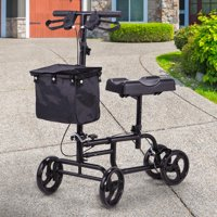 Jaxpety 4 Wheel Knee Walker Aluminum Scooter with Storage Basket Steerable Medical Mobility aid Equipment