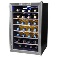 NewAir 28-Bottle Thermoelectric Wine Refrigerator, Stainless Steel and Black