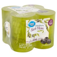 Great Value Medium Pitted Black Olives, 6 oz, 4 count