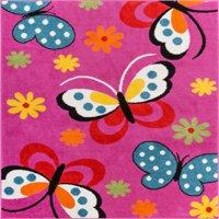 Well Woven StarBright Daisy Butterflies Modern Abstract Pink 5' x 7' Area Rug