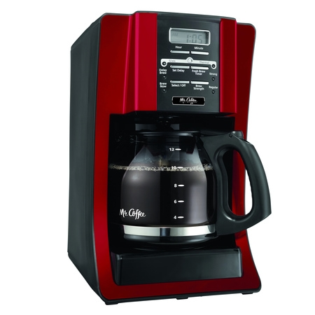 Mr. Coffee Advanced Brew 12 Cup Programmable Red Coffee Maker Dual Espresso Programmable Coffee Maker