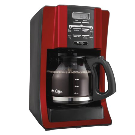 Mr. Coffee Advanced Brew 12 Cup Programmable Red Coffee Maker Delay Brew Coffee Maker