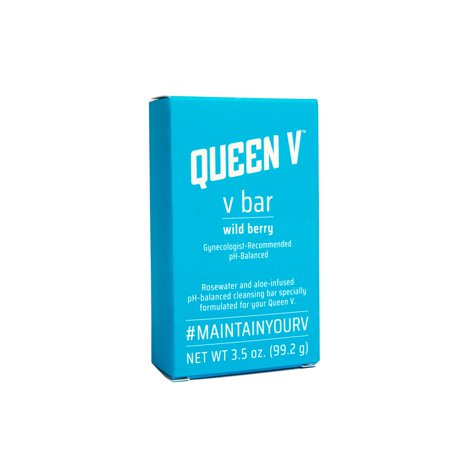 Queen V pH-Balanced V Bar Wild Berry Cleansing Feminine Soap Wash Aloe-Infused 3.5 Oz