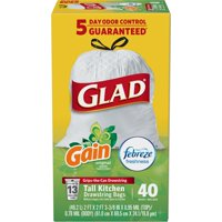 Glad OdorShield Tall Kitchen Drawstring Trash Bags - Gain Original with Febreze Freshness - 13 Gallon - 40 ct