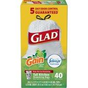 Glad OdorShield Tall Kitchen Drawstring Trash Bags - Gain Original with Febreze Freshness - 13 Gallon - 40 ct