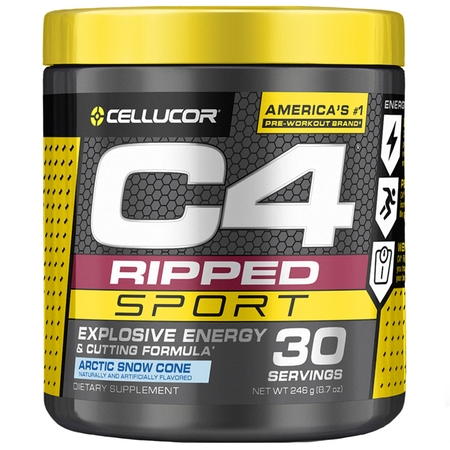 Cellucor C4 Ripped Sport Pre Workout Powder, Thermogenic Fat Burner For Men & Women, Arctic Snow Cone, 30 Servings