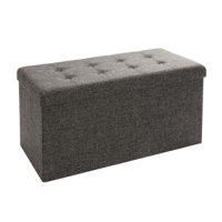 Foldable Storage Bench Ottoman, Charcoal Gray by Seville Classics