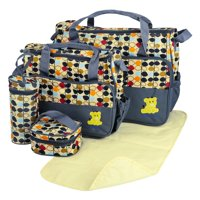 GPCT Grey Baby Diaper Tote Stylish Nappy Messenger Insulated Bag 5 Piece Set