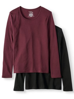 Women's Long Sleeve Scoop Neck T-Shirt, 2 Pck Bundle