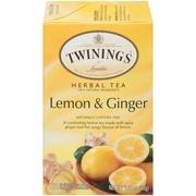 (4 Boxes) Twinings Of London Herbal Tea, Lemon & Ginger, Tea Bags, 20 Ct